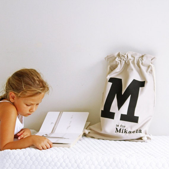Library bag Stone with Black  letter, Personalised Kids Bag, personalized bag, drawstring bag, childs bag, daycare bag,