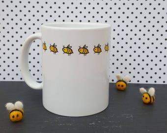 Bee Mug - Hand Drawn Original Artwork - Elegant Mug