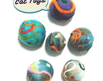Cat Balls, Interior Rattle, Needle Felted Cat Toys.