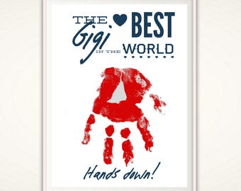Gigi Gift - PRINTABLE Mother's Day Gifts for Gigi, Mothers Day Gift from Kids, Personalized Gigi Handprint Art, DIY, Gift from Grandkids