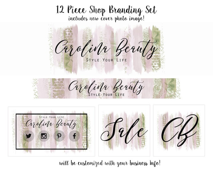 WATERCOLOR BRUSH STROKES Branding Package -Choose Your Font -Cover Photo Etsy Shop Set Banner Logo Business Card Blush Chic Paint Strokes