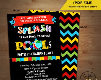 Back to school pool party invitation End of school pool party splash bash invite chalkboard Instant Download YOU EDIT TEXT & print 5828