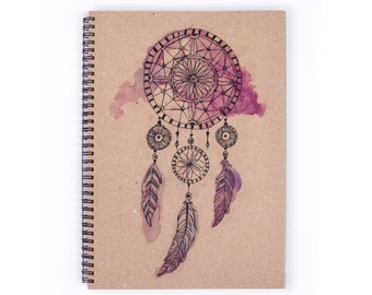 Notebook Personalise - Dream Catcher, Stationery, Recycled Paper, Boho, A4 Notebook, Lined Paper, Journal, Blank Paper, Art, Personalized