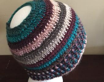 Crochet Messy Bun Beanie, Ponytail Hat