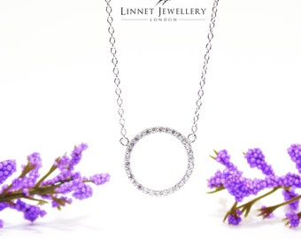 Large Circle Necklaces Cz 925 Silver Yellow Rose Gold