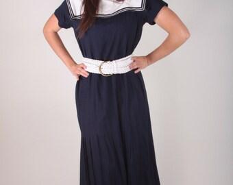 Vintage, Sailor Dress, Women's Beach Dress, Size 8-10, Navy Blue, White, Pleated Skirt, Striped Collar ~ Boom Thang ~ 170119