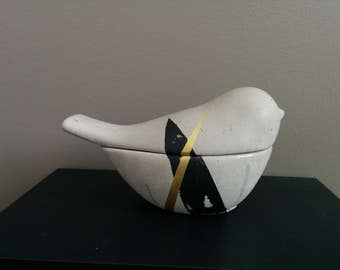 Concrete Jewelry box - Black N' Gold Design