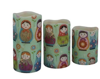 Matryoshka dolls candle | Battery light | Decorative candle | Bedside table decor | Office desk accessory | Flameless candle | LED candle