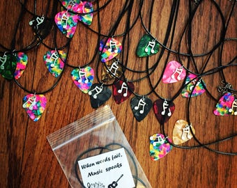 Guitar Pick Necklace with music note charm