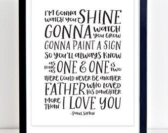 Paul Simon Lyrics, Father Daughter Nursery Print, Song Lyrics Print, PRINTABLE, Father Daughter Gift, Girls Nursery Print, Paul Simon Print