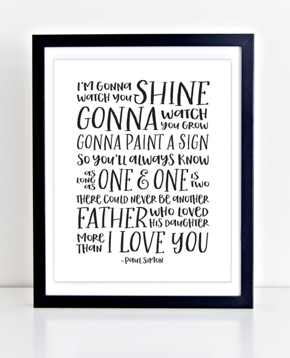 Songs About Dads And Daughters: Paul Simon Lyrics Father Daughter Nursery Print Song Lyrics
