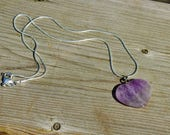 "5 Amethyst Stone Heart Pendants on a 22""  Sterling Silver Chain"