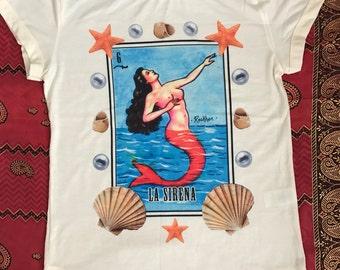 La Sirena Mexican Loteria t-shirt
