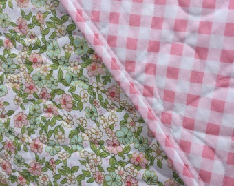 Floral Baby Quilt, Baby Girl Quilt, Toddler Bedding