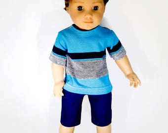 American made Boy Doll Clothes, 18 inch Boy Doll Clothing, Boy doll tee shirt with navy shorts made to fit like American girl doll clothes