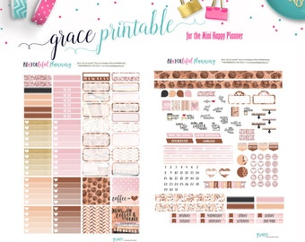 Runs on Grace Weekly // Coffee // Mini Happy Planner // Printable Planner Stickers // Cut Lines