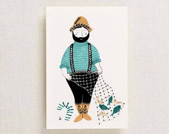 Fisherman Postcard | A6 Postcard | Fisherman Art | Fisherman Painting | Nautical Art | Folk Art | Fishing |Hand Painted | Seaside