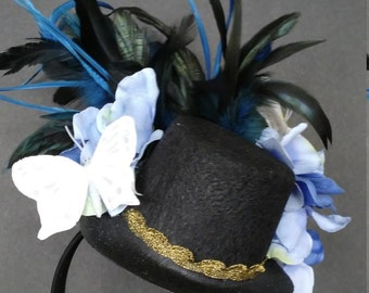 Blue Feather and Flower Fascinator