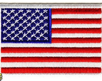 American Flag White Border Iron On Patch 3x2 inch Free Shipping Military Veteran Biker P2046W
