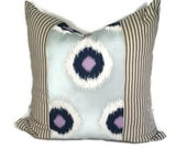 Blue, White and Lavender Ikat Throw Pillow Cover in 16x16,18x18, 20x20