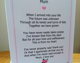 Mum Card, Mother's day, card, Mum, Mother, Mother's day, Mother's day card,Birthday,Love