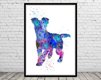Blue merle mutt, watercolor merle mutt, dog print, dog art, dog, Kids Room Decor, Poster, wall art, print(2604b)