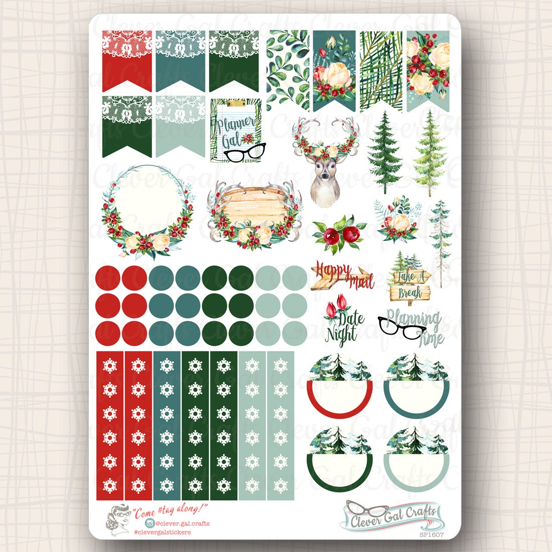 decorative planner stickers woodland noel doo dads 58 stickers total sp1607 from. Black Bedroom Furniture Sets. Home Design Ideas