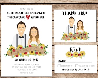Illustrated Wedding Invitation, Custom Drawing, Sunflowers, Wildflowers, Wedding Invite, Red & Yellow