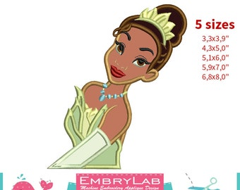 Applique Princess Tiana. The Princess and the Frog. Machine Embroidery Applique Design. Instant Digital Download (16288)