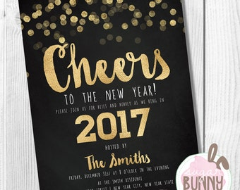 Printable New Years Eve Or Christmas Party Invitation