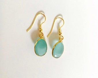 Aqua Chalcedony Drop Earrings, 24K Gold