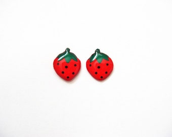 Strawberry earrings, Strawberry stud earrings, Fruit stud earrings
