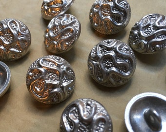 12 beautiful vintage metal buttons - aluminium - snake - silberfarbend - high-quality worked from Germany