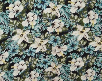 """Designer Fabric, Floral Print, Summer Fabric, Quilting Fabric, Dress Material, Black Fabric, 43"""" Inch Rayon Fabric By The Yard ZBR534A"""
