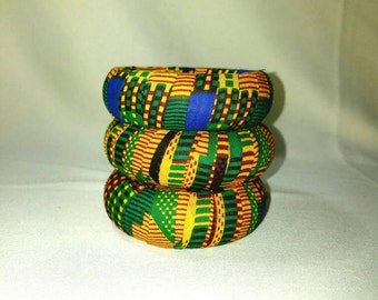 Green & royal blue kente bangles