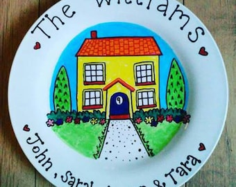 House plate. Family plate. House warming gift. Family gift. Unique gift. Valentine gift. Hand painted plate. Home decor. Wall art.