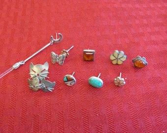 Lot of mismatched Sterling Silver Earrings- Amber -Mother of Pearl - Turquoise