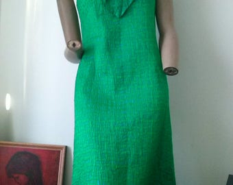 Emerald Green Vintage 70s sleeveless Evening dress size 12
