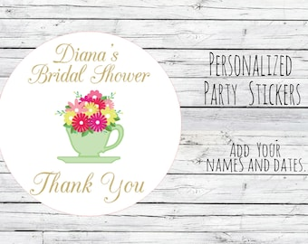 Custom Tea Bridal Wedding, Teacup Wedding Stickers, Favor Tags, Favor Stickers, DIY Wedding Labels, Tea Party Teapot Favor Tag Gift Printed