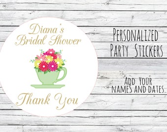 Custom Tea Bridal Wedding, Teacup Wedding Stickers, Favor Tags, Favor Stickers, DIY Wedding Labels, Tea Party Teapot Favor Tag Gift Printed