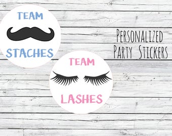 Lashes or Staches Gender Reveal Party Stickers Team Boy, Team Girl, Baby Shower Voting, Favor Tags, Labels, You Choose Size