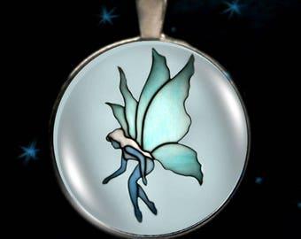 Fairy Necklace, Blue Fairy Pendant