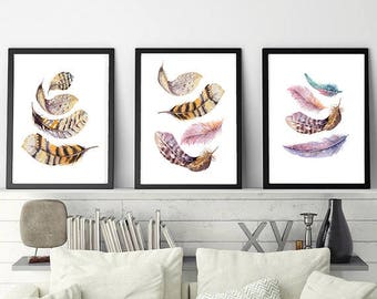 Feathers poster Boho poster Feathers home decor Boho home decor Feathers wall art Boho wall art Watercolor feather set poster Digital poster