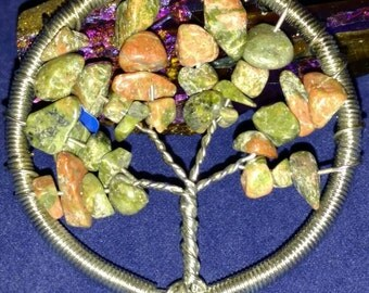 CLEARANCE *Unakite Tree of Life Pendant Necklace