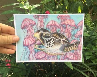 Hungry Sea Turtle, Jellyfish, Ocean - Art Print