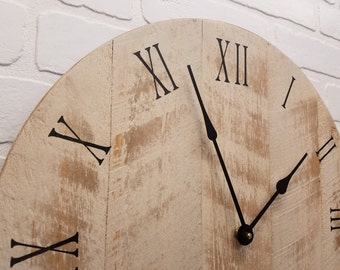 "Wall Clock (Rustic White), 18"" Rustic wall clock, Distressed, Reclaimed Barn wood look."