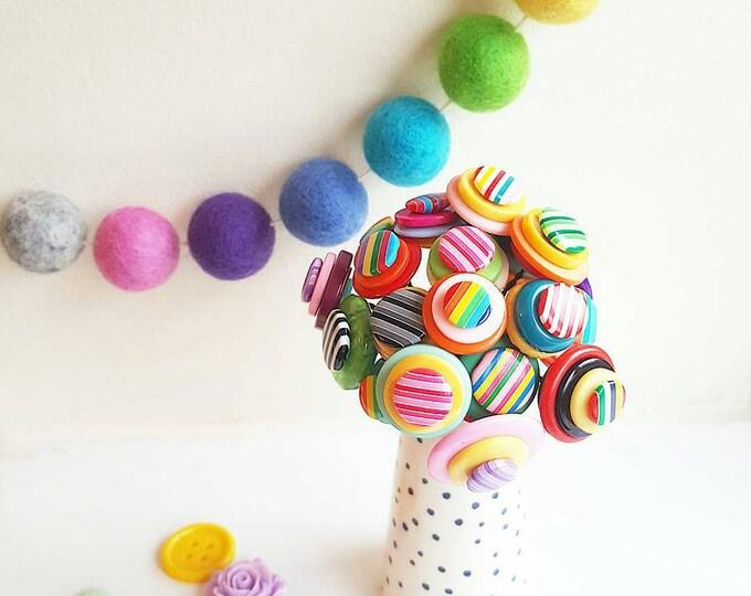 stripey rainbow button bouquet