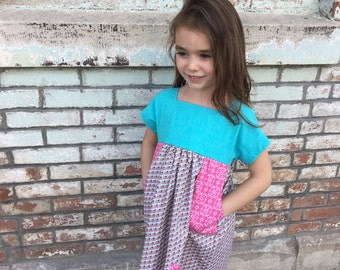 Girls blue pink spring dress, pink polka dot spring dress, blue cotton spring dress, girls boutique dress, sunday school dress, little girl