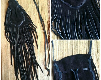 Black Medicine Bag Necklace * Black Leather Medicine Bag * Black Medicine Pouch * Fringed Medicine Bag * Crystal Pouch * Necklace Pouch