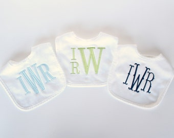 Set of 3 Monogrammed Bibs - Other Colors Available - Monogrammed Baby Bibs